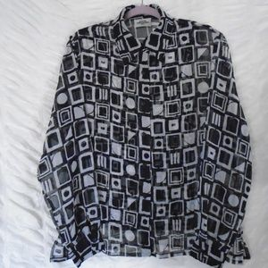 Geometric Print Sheer Blouse With Cami  Size L